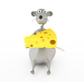 Cartoon mouse with cheese Royalty Free Stock Image