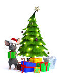 Cartoon mouse with Christmas gifts. Stock Photo