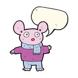 Cartoon mouse in clothes with speech bubble Stock Photography