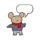 Cartoon mouse in clothes with speech bubble Royalty Free Stock Image