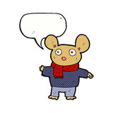 Cartoon mouse in clothes with speech bubble Royalty Free Stock Photo