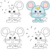Cartoon mouse. Coloring book and dot to dot game for kids Stock Photography