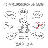 Cartoon Mouse Coloring Book. Funny mouse kids learning game. Vector coloring book pages for children Royalty Free Stock Photos