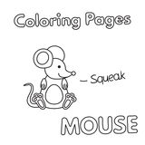 Cartoon Mouse Coloring Book. Cartoon mouse illustration. Vector coloring book pages for children Stock Photo