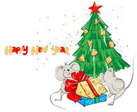 Cartoon mouse divide the cheese under the Christmas tree Royalty Free Stock Images