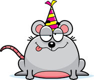 Cartoon Mouse Drunk Party. A cartoon illustration of a mouse with a party hat looking drunk Stock Photo