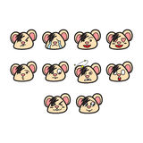 Cartoon mouse emoticon set Royalty Free Stock Images
