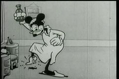 Cartoon of mouse experiencing the elixir of youth stock video
