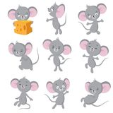 Cartoon mouse. Gray mice in different poses. Cute wild rat animal vector characters. Wild cute mouse and rat, rodent mascot illustration vector illustration
