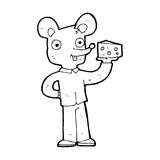 Cartoon mouse holding cheese Stock Images