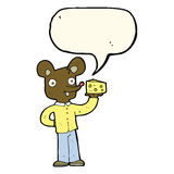 Cartoon mouse holding cheese with speech bubble Royalty Free Stock Image