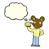 cartoon mouse holding cheese with thought bubble Stock Image