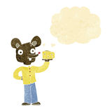 Cartoon mouse holding cheese with thought bubble Stock Photo