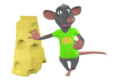 Cartoon mouse leans against a piece of cheese Stock Photos