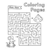 Cartoon Mouse Maze Game. Vector coloring book pages for children Stock Photography