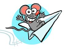 Cartoon mouse on paper airplane. Cartoon caricature of mouse smiling while riding a paper airplane Stock Photos