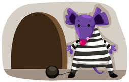 Cartoon mouse prisoner stock illustration