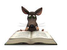 Cartoon mouse reading Stock Photo
