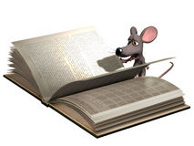 Cartoon Mouse reading book Stock Photography