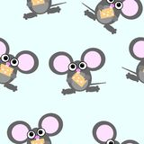 Cartoon mouse repetitions. Cute little mouses with cheese Stock Image