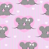 Cartoon mouse repetitions. Cute little mouses with hearts Stock Photo