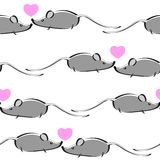 Cartoon mouse repetitions. Cute little mouses with hearts Royalty Free Stock Images