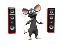 Cartoon mouse singing with microphone and big speakers. Royalty Free Stock Photo