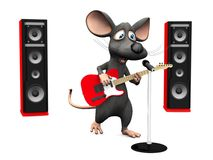 Cartoon mouse singing in microphone and playing guitar. Royalty Free Stock Photography