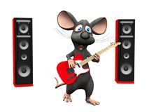 Cartoon mouse singing and playing guitar. Royalty Free Stock Images