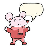 Cartoon mouse with speech bubble Royalty Free Stock Images