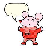 Cartoon mouse with speech bubble Royalty Free Stock Image