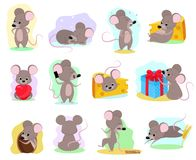 Cartoon mouse vector mousy animal character rodent and funny rat with cheese illustration mousey set of little mice in stock illustration