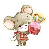 Cartoon mouse watercolor illustration. cute mice. Decorative mice watercolor illustration. home mouse vector illustration