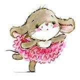 Cartoon mouse watercolor illustration. cute mice. stock illustration