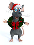 Cartoon mouse wearing Christmas wreath. Stock Images