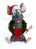 Cartoon mouse wearing Christmas wreath and holding candy cane. Stock Photography