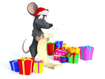 Cartoon mouse wearing Santa hat and reading long Christmas wishl Royalty Free Stock Photography