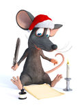Cartoon mouse wearing Santa hat and writing Christmas wish list. Stock Images