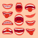 Cartoon mouth elements collection. Show tongue, smile with teeth, expressive emotions, smiling mouths and phonemes. Cartoon mouth elements collection. Show vector illustration