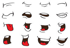 Cartoon Mouth Expressions Vector Designs Isolated on White Royalty Free Stock Photos