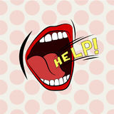 Cartoon mouth loud help. Stylish colored design. Scream, shout, cry. Royalty Free Stock Photography