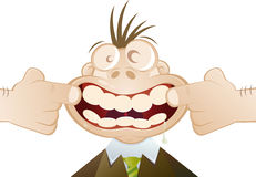 Cartoon mouth open teeth. Cartoon of man pulling mouth wide open, showing teeth Stock Images