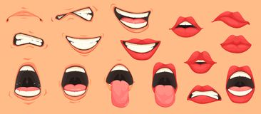 Cartoon Mouth Set. Cartoon cute mouth expressions facial gestures set with pouting lips smiling sticking out tongue isolated vector illustration royalty free illustration
