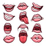 Cartoon Mouth set. Set of cartoon mouths isolated on a white background. Variety of emotions and facial expressions. Vector illustration royalty free illustration