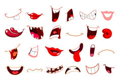 Cartoon mouths. Cartoon set of different mouths vector illustration