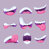 Cartoon mouths expressions vector set Royalty Free Stock Photos