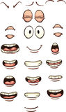 Cartoon mouths. And eyes. Vector clip art illustration with simple gradients. Each on a separate layer vector illustration