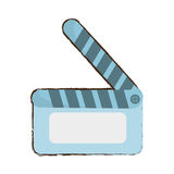 Cartoon movie clapper board cinema round. Illustration eps 10 Royalty Free Stock Image