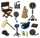 Cartoon movie equipment icon set. Drawing Royalty Free Stock Photography