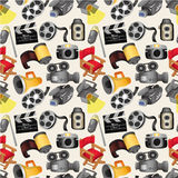 Cartoon movie equipment seamless pattern. Drawing Royalty Free Stock Photography